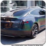 Tsautop 1.52*20m Black Holographic Laser Chrome Car Vinyl Wrap