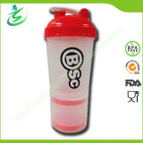 600ml PP Material Big Protein Shaker Bottle with Pill Container