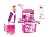 Children Pink Play Toy Kitchen Cabinet Pot Pan Utensils with Light & Sound