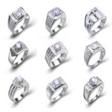 OEM Micro Setting 925 Silver Men Rings with AAA Zircon