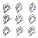 OEM Micro Setting 925 Silver Men Rings with AAA Zircon