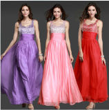 Sequin Chiffon Full Length Cheap Evening Dresses (DS010)