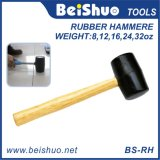 Black Head Wooden Handle Rubber Mallet Hammer