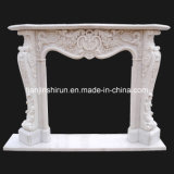 White Marble Flower Carving Fireplace Mantel