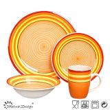 16PCS Handpainted Orange Ceramic Dinner Set Classical