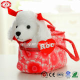 White Dog Poodle with Red Ribbon in Plush Bag Toy
