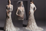 Sheer Long Sleeves Bridal Gowns Vestidos Mermaid Lace Wedding Dress, Customized