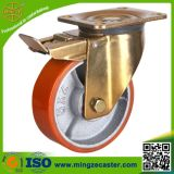 Yellow Zinc Plated Heavy Duty Brake Castor Wheel for Trailers