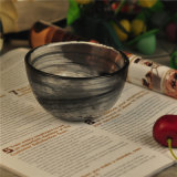Small Black Glass Marble Bowl for Candle