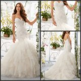 Organza Bridal Ball Gown Sweetheart Tiered Lace Wedding Dress Mrl5409