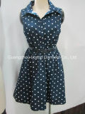 Classical DOT Print Girl Dress for Summer with PU Belt