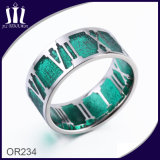 Roman Numerals Hollow out Green Finger Ring