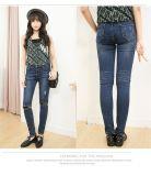 P1316 Ladies Rivet Slim Jeans Lace Ripped Holes Pencil Pants
