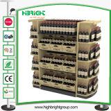 Custom Supermarket Wooden Red Wine Bottle Display Rack