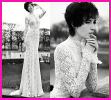 Lace Bridal Evening Dresses Long Sleeve Formal Wedding Gown Z107