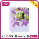 Purple Flowers OEM Logo Printed Cheap Clothing Coated Paper Bag