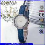 Customized Leather Strap Quarts Gift Ladies Wrist Watch (Wy-089D)