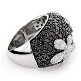 Black CZ Diamond Flower Silver Ring 925 Silver Jewelry