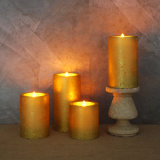"""Pack of 5 Gold Glittered Flameless Wax LED Pillar Candles W/Timers 3"""" X 6"""""""
