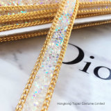 Free Samples New Arrival 1.6cm Width Clear Crystal Ab Mesh on Suede Backing Rhinestone Ribbon (HF-crystal ab strip)