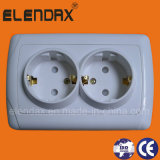 European Style Flush Mounting 16A Double Wall Socket Outlet (F3210)