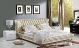 King Size Button Tufted Leather Bed