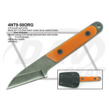 "4.9""Overall Black Coated Stone Washed Neck Knife with Orange Handle"