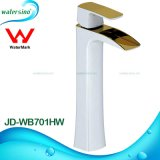 Tall Gold and White Plated Waterfall Brass Bathroom Sink Mixer