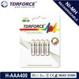 1.2V Rechargeable Low Self Discharge Nickel Metal Hydride China Fatory Battery (HR03-AAA 400mAh)