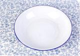 Blue Rim Deep Enamel Plate, Enamel Dish, Enamelware Tableware