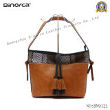Fashion Combination PU & Fabric Big Tote for Young Lady