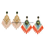 Statement Ethnic Colorful Gems Tassel Women′s Earring Water Drop Design Crystal Studded Jewelry