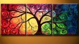 Modern Framed Abstract Tree Oil Painting on Canvas (LA3-016)