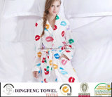 New Fashion Women′s Printed Coral Fleece Bathrobe Df-8838