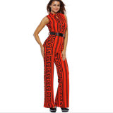 Tailored Collar Sleeveless High Waist Plus Women Casual Trousers with Pocket