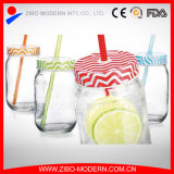 Bulk Glass Mason Drinking Canning Jars with Colord Straws for Sale