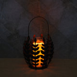 Pillar Metal Candle Holder with Leaf Design for Fall Harvest Ornaments