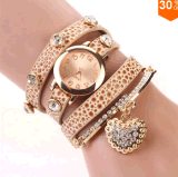 2015 New Fashion Women Dress Watches Leather Strap Wristwatches Ladies Quartz Long Chain Luxury Heart Top Brand Casual
