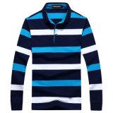 OEM Fashion Men Long Sleeve Striped Cotton Polo Shirts