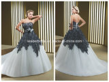 New Strapless Empire Black Applique Sweep Train Wedding Dress Yao0062