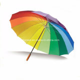 Promotional Auto Open 16k Colorful Rainbow Golf Rain Umbrella