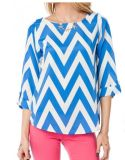 Chevron Printed Blouse / T Shirt in Blue/White (HSM520)