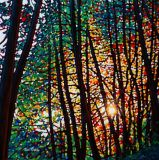 Forest with Sunset on Oil Painting