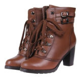 Ladies Fashion Leather Boots/Leather Shoes with Belt Buckles