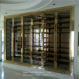 Factory Price of Golden Color Stainless Steel Metal Rack Wine Display Shelf