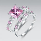 Asscher Cut Pink Stone Wedding Ring Set - 33