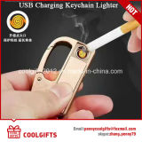 Hot Selling Metal Windproof USB Charging Lighter with Key Chain/Ring