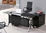 Glass Top Executive Office Desk Wooden Office Furniture (HX-GL027)