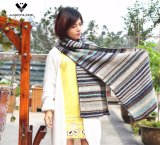 Lady's Fashion Warm Acrylic Mohair Multicolor Stripe Knitted Scarf