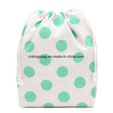 Cotton Drawstring Bag with Full Dots Prints